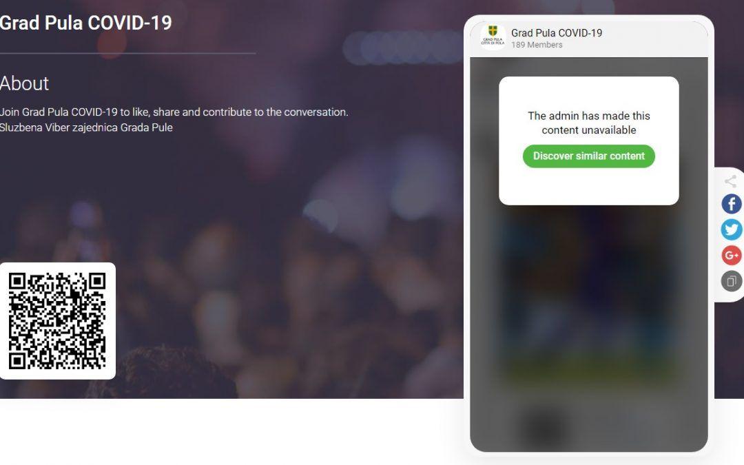 Pula: Pokrenuta Viber grupa 'Grad Pula COVID-19' preko koje će građani dobivati sve važne obavijesti
